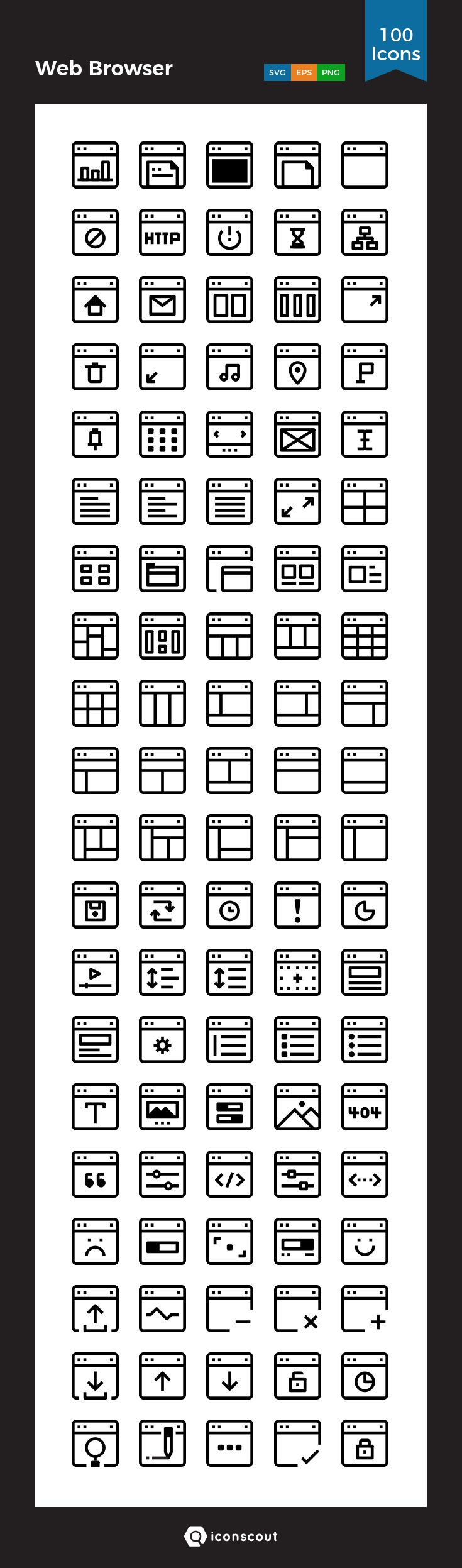 Web Browser   Icon Pack - 100 Line Icons