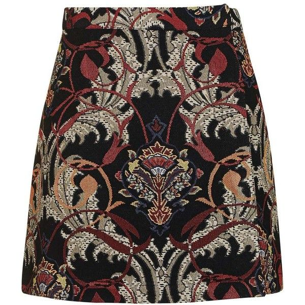 TopShop Petite Rambler Tapestry Skirt ($68) ❤ liked on Polyvore featuring skirts, topshop skirts and petite skirts