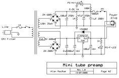 12ax7    12au7 tube preamplifier power supply schematic