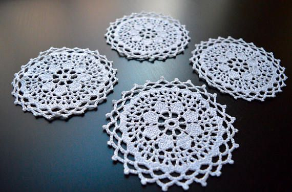 Crochet Doily Cup Coasters Set of 4