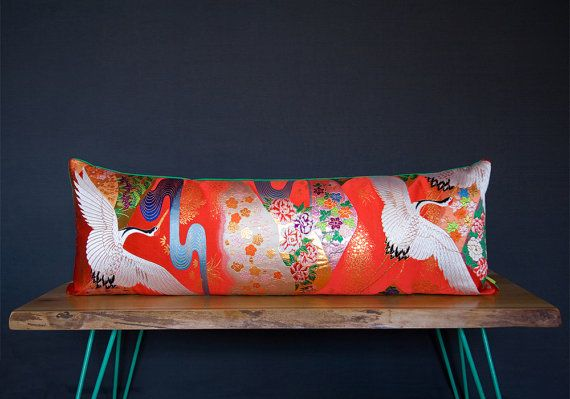 Wedding Gift Large Red Cushion Kimono Bolster by HuntedandStuffed