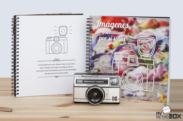 Uno de los elementos que incluye la cápsula del tiempo para bodas Retrobox Sí Quiero es un álbum de fotos para guardar en él las fotos más divertidas y las más emotivas del gran día. ¡Seguro que los novios se sorprenden y emocionan al volverlas a ver cuando abran su cápsula del tiempo! #capsula #tiempo #MyRetrobox #fotos #regalos #boda