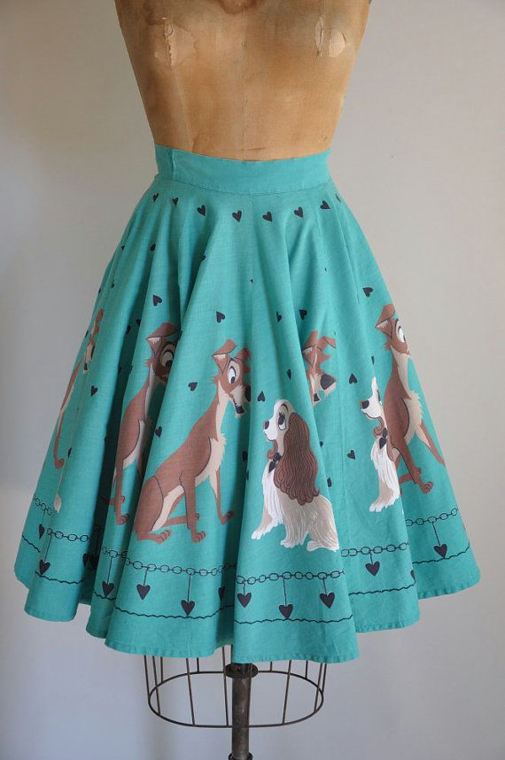 Endlessly darling vintage Lady and The Tramp novelty print skirt!!!