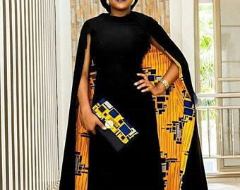 African dress with cape / African dresses / African maxi dress / African clothing / Ankara maxi dress / African prom dress
