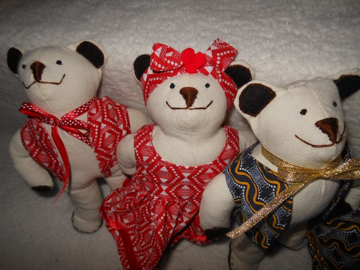 Our teddies looked quite African in their African print clothes.