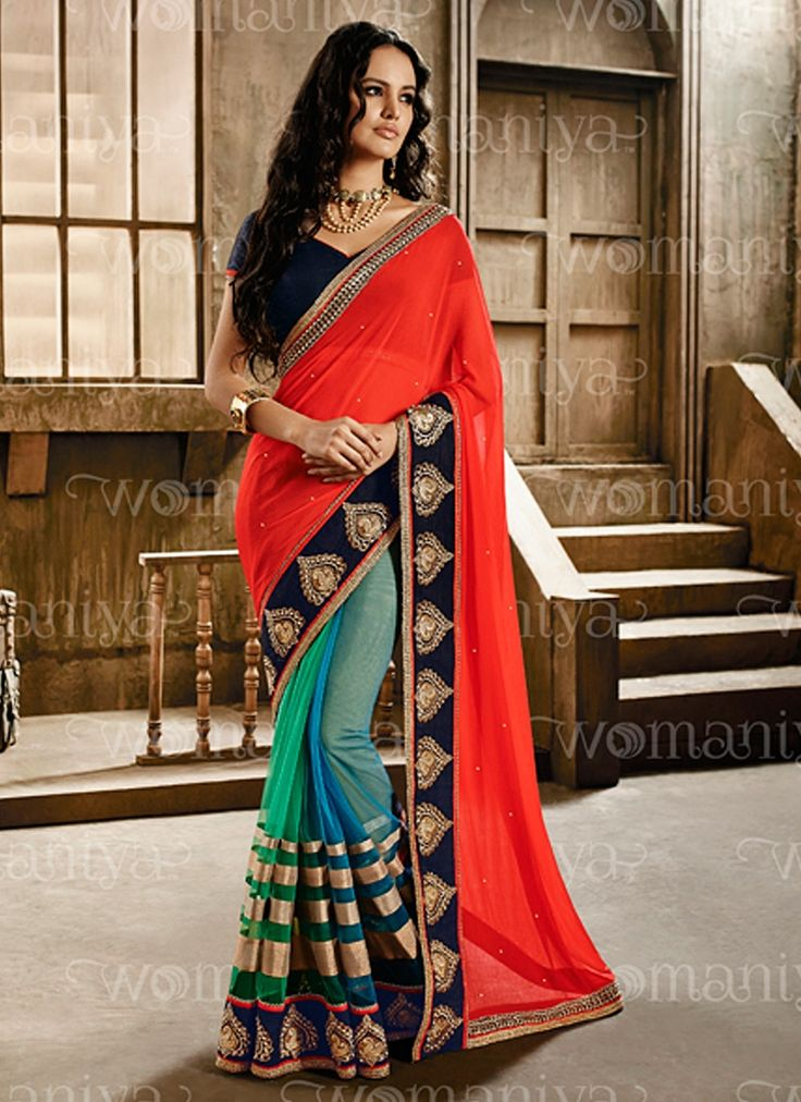 Designer Sarees online shopping in USA UK Canada|Buy Affability Multi Color Georgette Designers Saree