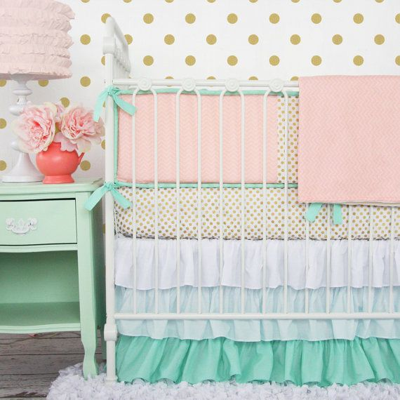 Marion S Coral And Gold Polka Dot Nursery: Mint And Mini Floral Baby Bedding