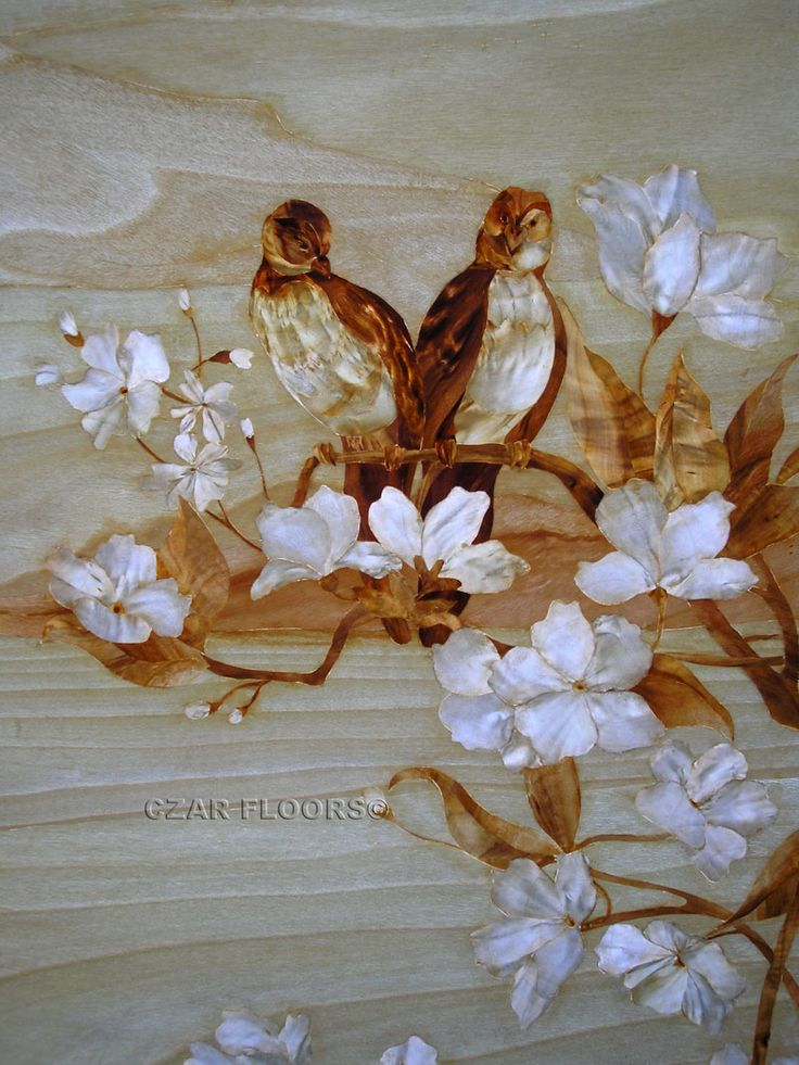 Larger image for Birds In Marquetry - part of Czar Floors collection of unique decorative flooring products.