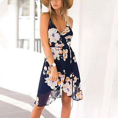 Γυναικείο Παραλία Γιορτή Σέξι Βίντατζ Μπόχο Θήκη Φόρεμα,Φλοράλ Αμάνικο Τιράντες Ασύμμετρο Πολυεστέρας Καλοκαίρι Φθινόπωρο Ψηλοκάβαλο – EUR € 8.52