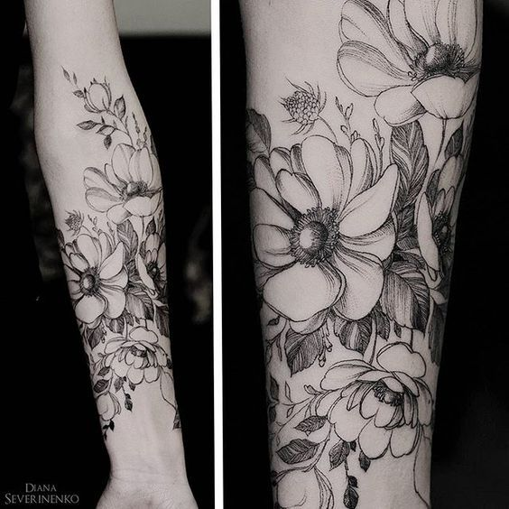 Diana severinenko tattoo. anemones. flowers