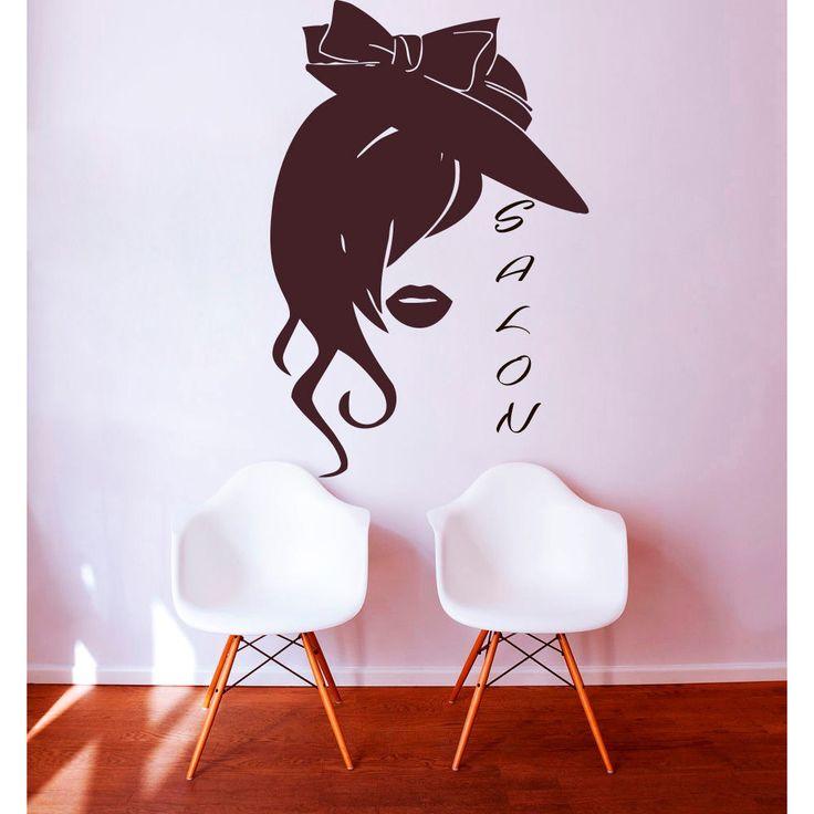Beauty Salon Wall Decals Woman Face Vinyl Stickers Home Art Murals Window Decor