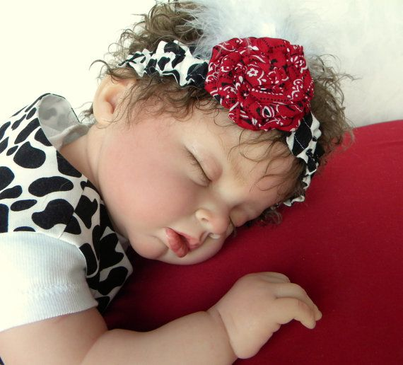 Baby-Toddler Over-the-Top Cowgirl  Headband, Feathers, Hand Made Flower and a Cow Print.