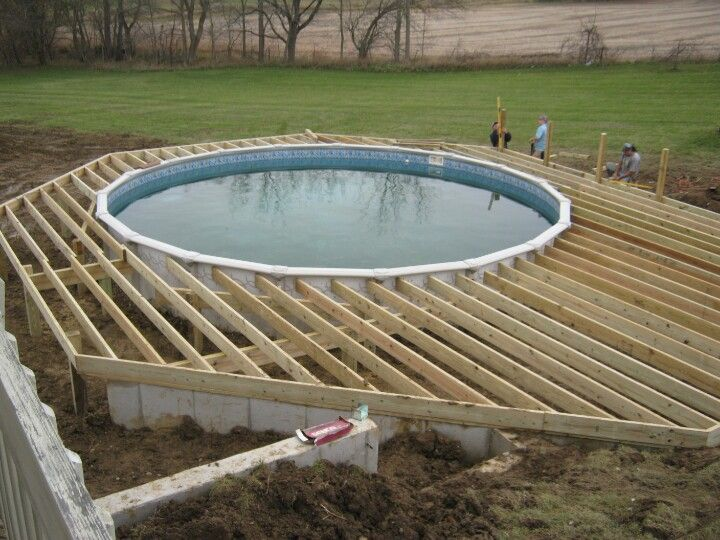 Deck framing outdoor building ideas pinterest deck - How to build an above ground swimming pool ...