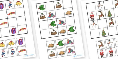 Christmas Picture Sudoku #twinkl #teaching #primary #resources #christmas #activity