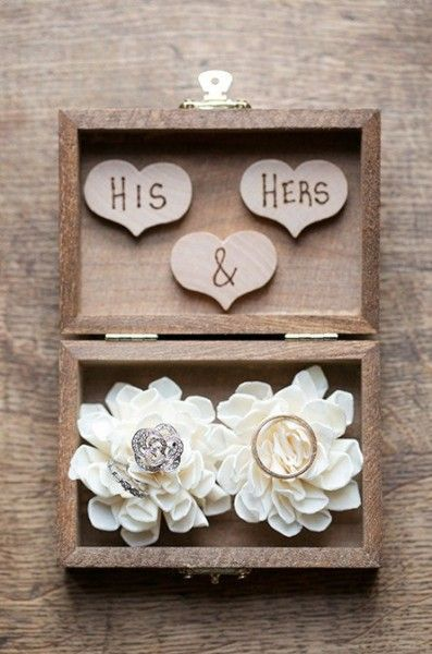 "A custom rustic ring bearer box engraved with ""his & hers"". Such a creative and sweet ring bearer pillow alternative! Personalize at elli.com"
