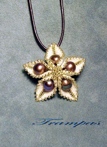 Peyote and Pearl 'Flower' Pendant