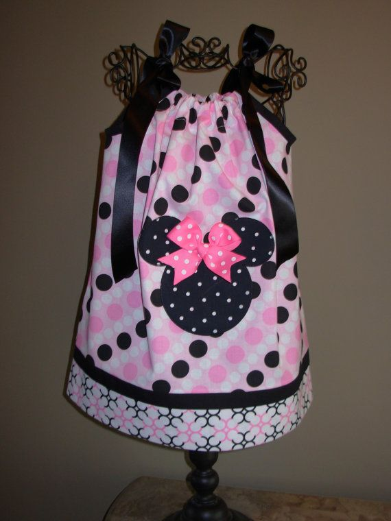 Minnie Mouse Pillowcase Dress Black Dots on Pink by STLGIRL, $20.00