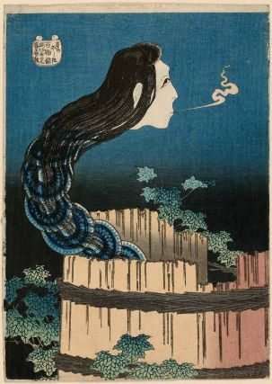 The Mansion of the Plates (Sara yashiki), from the series One Hundred Ghost Stories (Hyaku monogatari)  「百物語 さらやしき」  Japanese, Edo period, about 1831–32 (Tenpô 2–3)  Artist Katsushika Hokusai, Japanese, 1760–1849, Woodblock print (nishiki-e); ink and color on paper, MFA