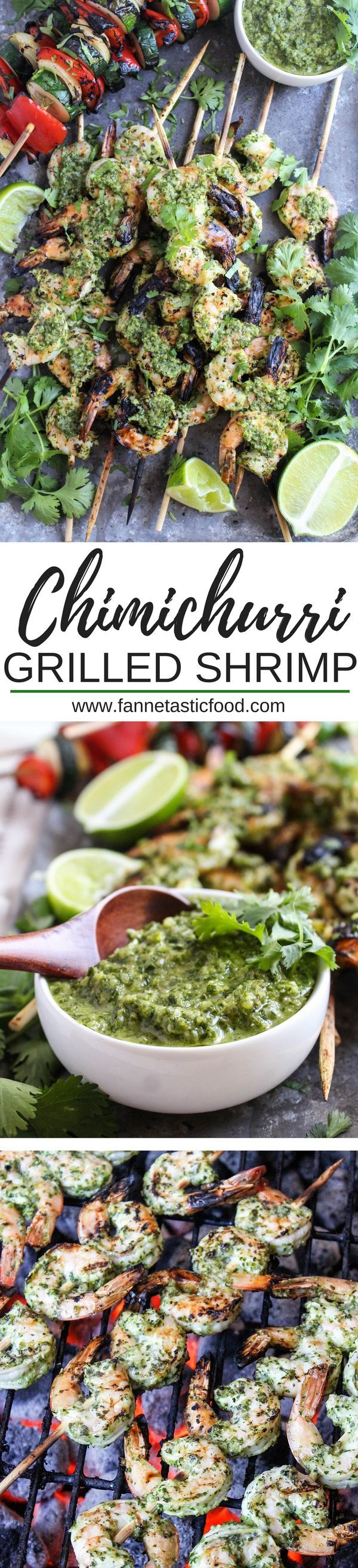 This Chimichurri Grilled Shrimp Recipe is perfect for your Fourth of July celebration - it's easy to make for a crowd, so flavorful and delicious, and the sauce can be made in advance!   shrimp kebab recipe   healthy fourth of july recipes   shrimp skewer recipe   healthy grilled shrimp  