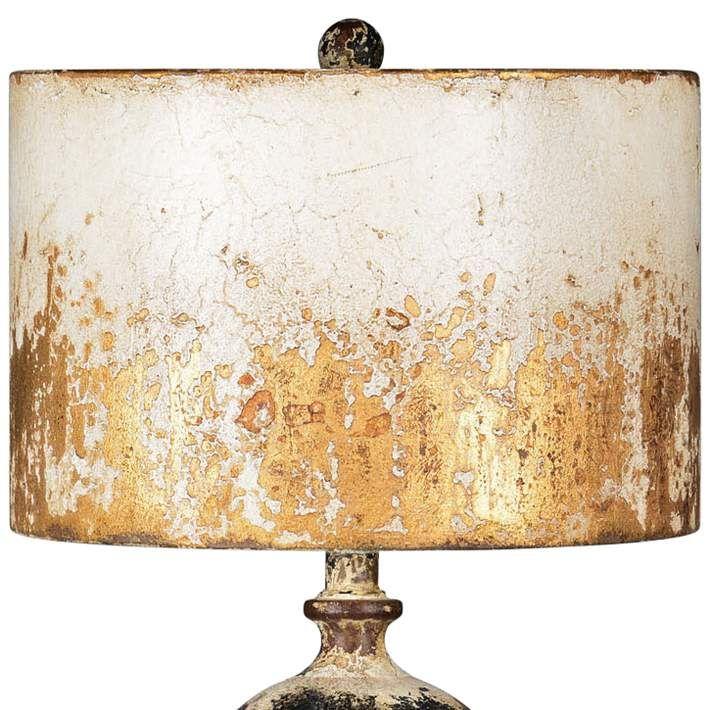 Shiloh Metal Cream Black And Brown Weathered Rustic Table Lamp 70a62 Lamps Plus In 2021 Metal Lamp Shade Lamp Brown Table Lamps