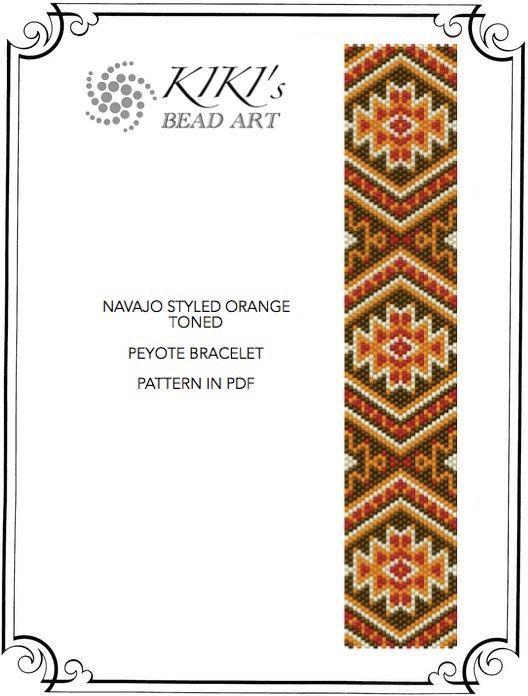 Navajo style orange toned ethnic inspired peyote by KikisBeadArt