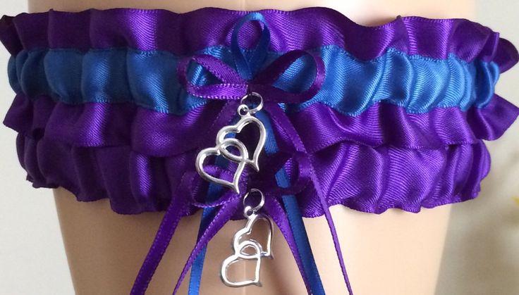 Royal Purple and Royal Blue Wedding Garter Set, Bridal Garter Set, Prom Garter, Royal Purple Weddings, Bridal Gift