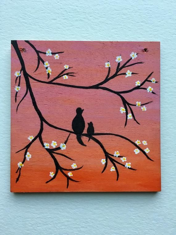 Mama Baby Tiny Wood Painting Acrylic Wood Wall Art Pink Orange Ombre Wall Hanging Gifts Simple Canvas Paintings Mini Canvas Art Small Canvas Paintings