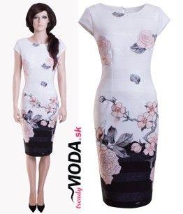 Elegantné biele dámske šaty s potlačou kvetov - trendymoda.sk