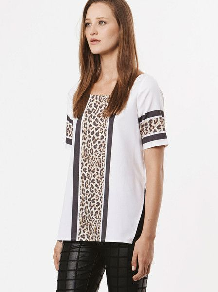 RUBY SEES ALL - The Poet Top - Leopard - Stripe - Tee $109.00