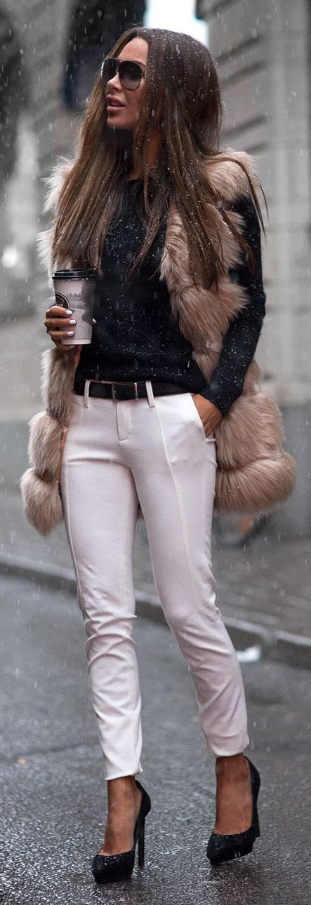 Fur street style. Let us captivate your senses at Lou Lou & Percy with our luxurious on trend affordable fashion jewellery. www.loulouandpercy.com