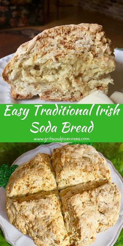 Celebrate St. Patrick's Day by serving Traditional Irish Soda Bread for dinner. This authentic bread recipe is so easy to make, you won't need to rely on the luck o' the Irish to pull it off.  via @gritspinecones
