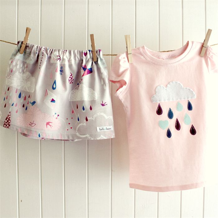 raindrops & whimsy | toddler skirt and tee | pink grey | cloud applique | 2 3 4 Lolli & Bean  New Fave- this is GORGEOUS!! #rain #clouds #skirt #toddler #madeitau #shopmadeit #lolli&bean