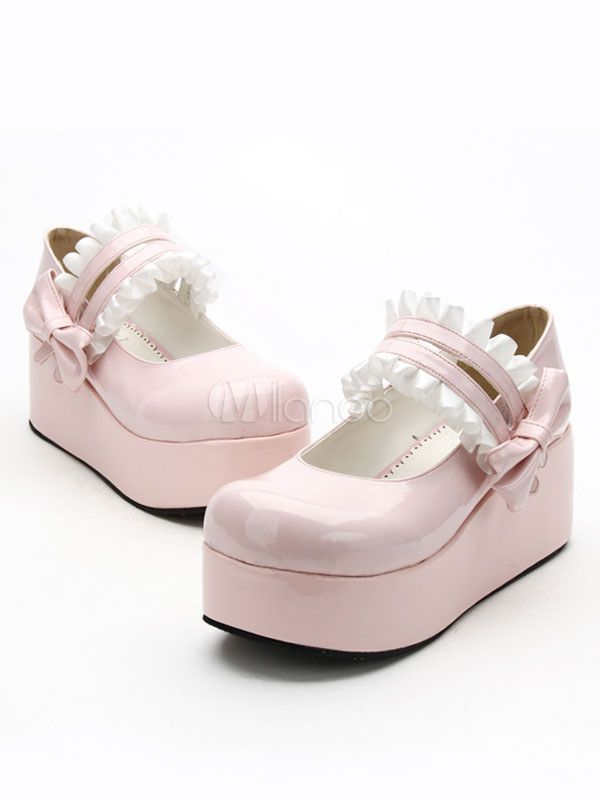 88c316318a8 Sweet Lolita Shoes White Platform Ruffle Double Strap Lovely Lolita Shoes  With Bow  White