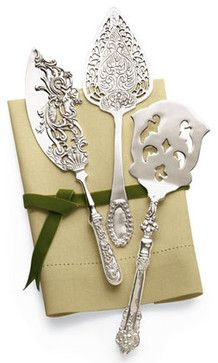 Dessert Servers Silver-plated serving set comes with a cake knife, a pie server, and a slotted server.