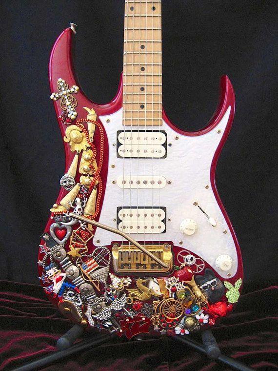Vintage Jewelry Hand Layered Ibanez Electric Guitar - Guitar Art - Playable Art -  Studio Decor - Graffiti