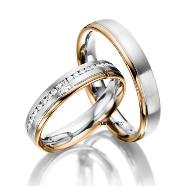 Beautiful His u Hers Mens Womens Matching K White and Rose Gold Two Tone Gold Wedding Bands Rings Set with Diamonds mm mm Wide Sizes by TallieJe u