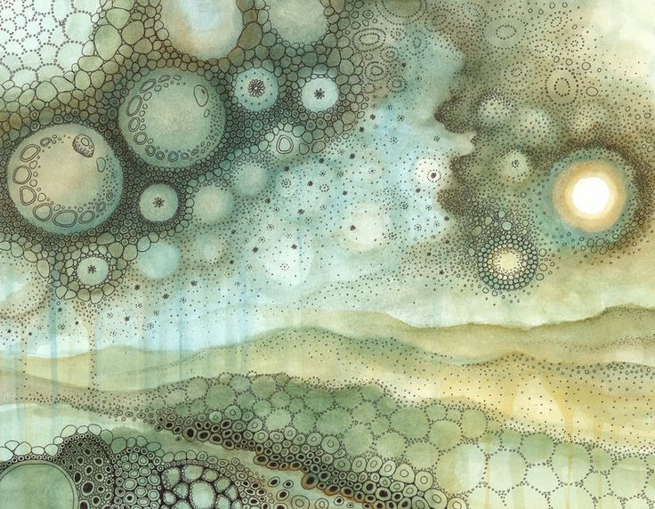 The Shining aka Skyscape by CAMartin. Subtle, watercolor, sea, sky, landscape, circles, pattern.