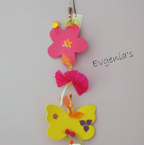 Handmade Pink and Orange Flowers Yellow by EvgeniasOrnaments, $22.00