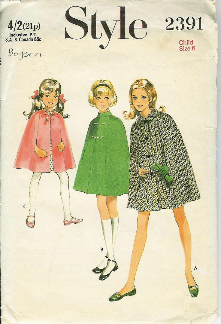 STYLE 2391 60s Vintage Sewing Pattern... Girls CAPE... Size 6. $8.00, via Etsy.