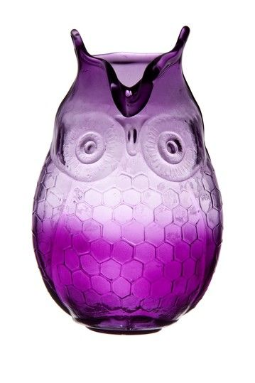 Owl Hurricane Vase - Plum Purple.