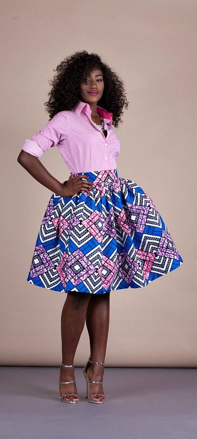 "Demi Skirt. Relaxed yet sophisticated and, best of all, universally flattering – just look how it nips in the waist – a full, high waisted skirt is an instant game-changer with two side pockets and approximately 2"" waist band.    Ankara 