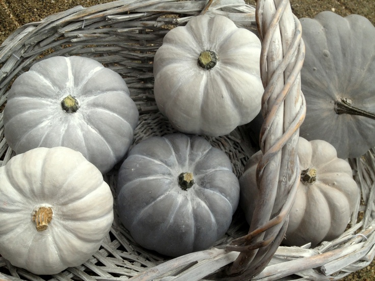 Painted Pumpkins.  Painted with Matt Paint and waxed with Paste wax Painting the past.