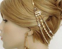 Great Gatsby inspiré or bandeau des années 1920 Art déco mariage Halo bandeau-Bridal Rhinestone chaine dorée cheveux Wrap-clapet tête chaîne-« CHIARA »
