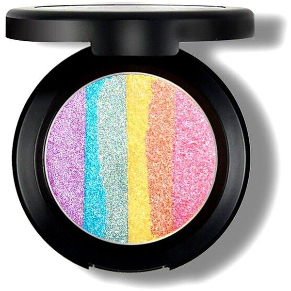 Etouji 6 Colors Rainbow Eyeshadow Highlighter Powder Makeup Cosmetic... ($13) ❤ liked on Polyvore featuring beauty products, makeup, beauty and palette eyeshadow
