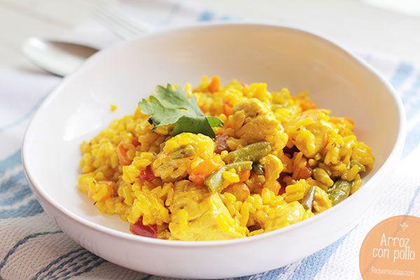 Arroz con pollo, una receta fácil. Os enseñamos una receta con pollo paso a paso: cómo hacer arroz con pollo y verduras, bien casero y sabroso.