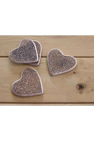 Set Of 4 Mauve Heart Crackle Coasters from Next