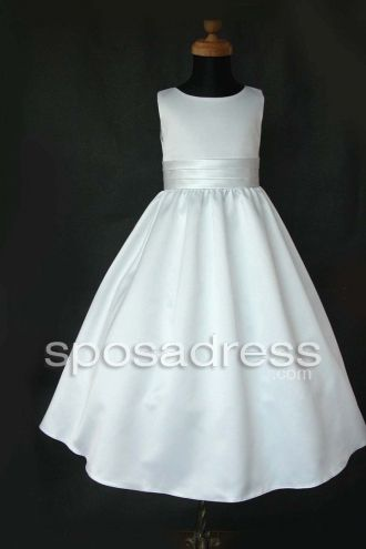 Simple Style White A-line Satin Sash First Communion Dress