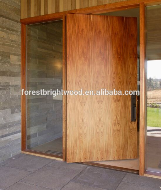 Modern Solid Wood Flush Type Exterior Pivot Door
