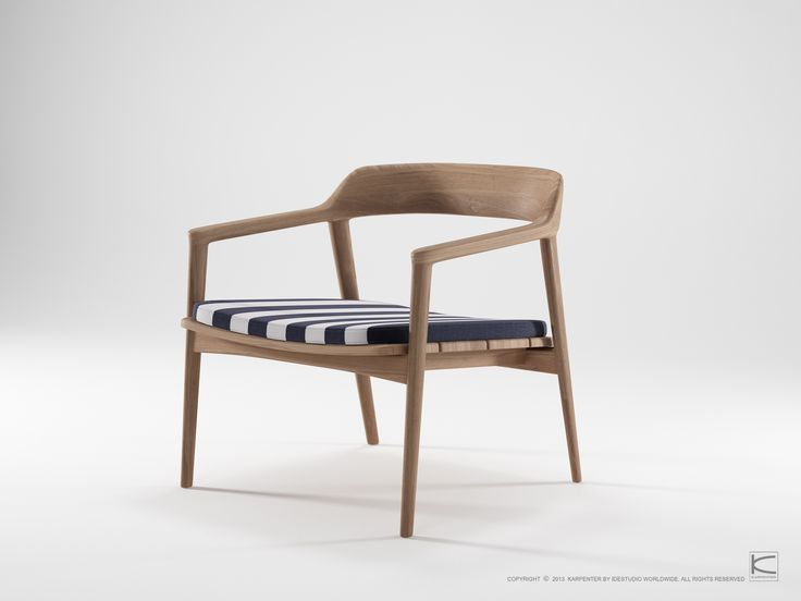 Grasshopper collection text: Beauty, extreme comfort and environmental sustainability are all we could ever want from our furniture. With gentle angles and soft curves, the Grasshopper Collection is elegant, stylish and playful. Surfaces are designed to show off the natural charm of FSC certified reclaimed teakwood. Made for homey relaxation, cushions in different colors and patterns gives the collection the individual touch.    www.karpenter.com