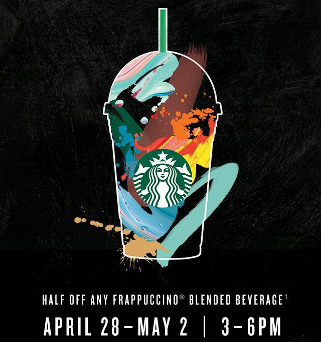 Calling all Starbucks Rewards members, a special member only Frappuccino Happy Hour starts April 28 - May 2!